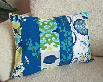Cottage Chic, Shabby Chic Pillow Cover, Blue Floral Patchwork Pillow Cover, Bohemian, Hipster Pillow, Bright Ikat Cushion Cover - 12 x 16
