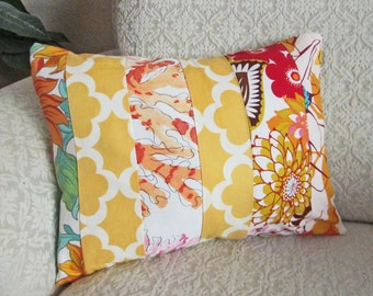 Yellow Floral Patchwork Pillow Cover, Boho Chic, Cottage Chic Decor, Bright Pillow Cover, Yellow Orange Red, Coral, Cushion Cover - 12 x 16