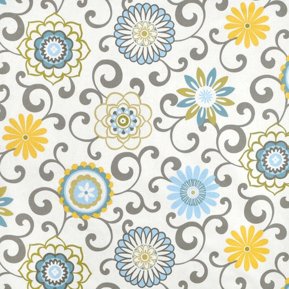 Blue Yellow Window Curtains Floral Medallion Curtain Panels