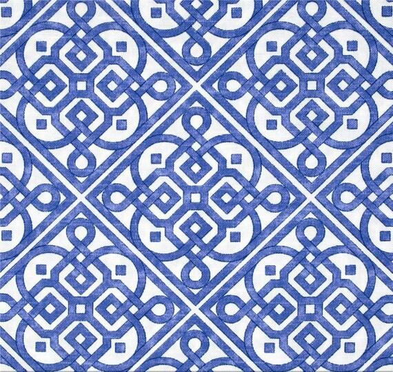 Bright Blue Lattice Curtains Porcelain Blue By