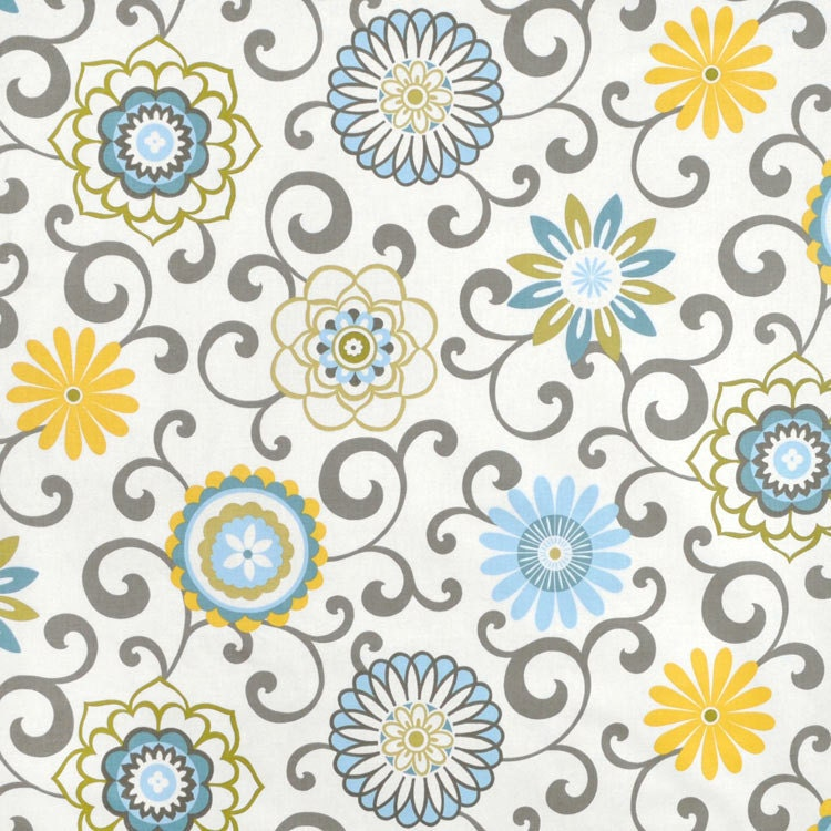 Blue yellow window curtains floral medallion by asmushomeinteriors