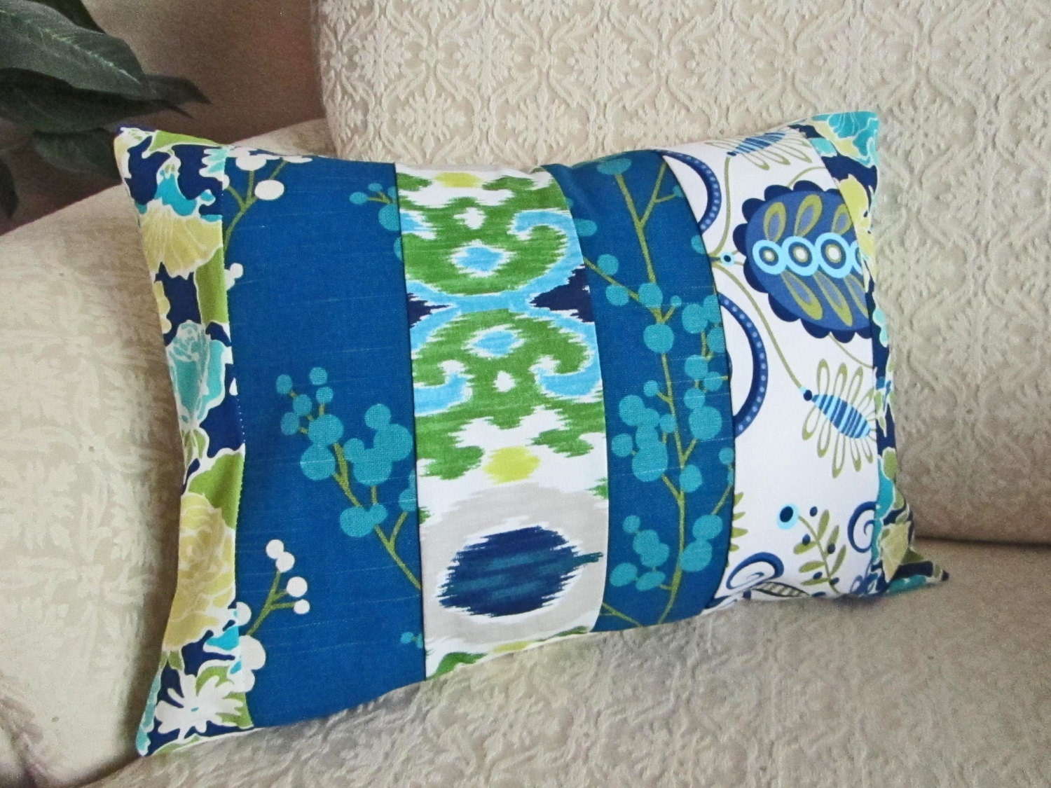 Cottage Chic Shabby Chic Pillow Cover Blue Floral Patchwork