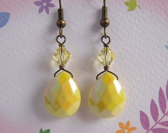 Yellow Teardrop Earrings, Yellow Crystal Earrings, Choice Of Antiqued Brass Silver Plated Gold Plated