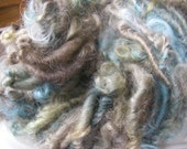 Handspun Hand Dyed Curly Bulky Leicester Longwool Wool Art Yarn in Mushroom Shades with Smoky Blue by KnoxFarmFiber for Knitting  Weaving