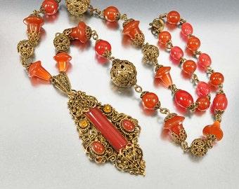 Carnelian Glass Czech Art Deco Necklace, Ornate Filigree Brass Necklace, Vintage 1920s Art Deco Jewelry Czechoslovakia Antique Jewelry