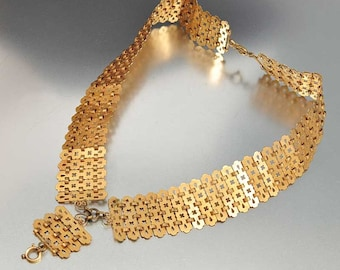 Book Chain Victorian Necklace, German Kollmar Gold Antique Bookchain Necklace, Victorian Antique Jewelry, Statement Long Pendant Necklace