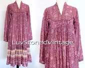 SOLD - 70s Vintage Adini India Tent Cotton Boho Hippie Indian Ethnic Festival Maxi Dress | XS/S | 1010.6.23.15