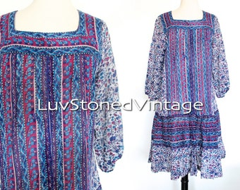 70s Vintage Indian Cotton Tent Tunic Boho Hippie India Ethnic Festival Midi Mini Dress | XS-SM | 1017.6.23.15