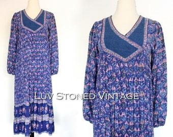 70s Vintage Phool Indian Cotton Gypsy India Hand Blocked Festival Boho Hippie Tent Midi Maxi Dress | XS - SM | 1036.7.9.15