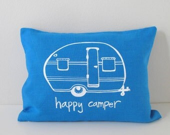 Happy Camper Vintage Trailer Pillow Cover - Cushion Cover - 12 x 16 inches by Sweetnature Designs - Choose your fabric and ink color