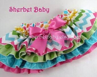 Pink Blue Green Polka Dot & Chevron Four Ruffle Sassy Pants Ruffle Diaper Cover Bloomer
