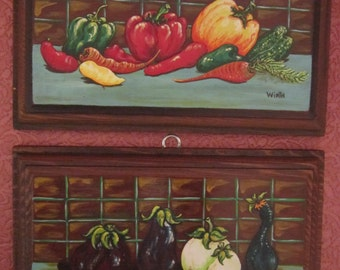 Vintage Pair Hand Painted Wooden Plaques Colorful Vegetables Farmers Market Eat Your Veggies!