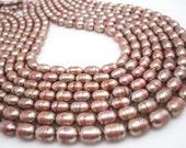 Freshwater Pearl Beads,  Mauve Pearls, Potato Shape, SKU 4652