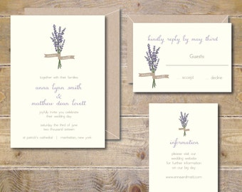 Lavendar Wedding Invitations, Lavendar, Flowers, Floral, Garden Wedding, Summer Wedding, Field of Lavendar, Purple, Rustic Wedding Invites