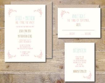 Wedding Invitations, Rustic Wedding Invites, Floral Wedding Invitations, Wedding Invitation, Flowers, Vines, Casual Invitations