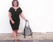 Hobo Bag ,handbag , Shoulder bag , Tote bag ,everyday bag Black and White striped with cream lining
