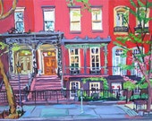 New York Art Grammercy Park Print, Townhouses Brownstones red Building Facades New York City Painting NYC Cityscape by Gwen Meyerson