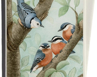 Nuthatches in Bird Tree Greeting Card by Tracy Lizotte