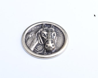 Horse Button , Stamped, Brass , 3D , Back is relief of the front, 6pc each