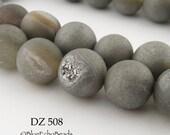 10mm Grey Druzy Agate Geode Beads Matte Grey (DZ 508) 18 pcs BlueEchoBeads