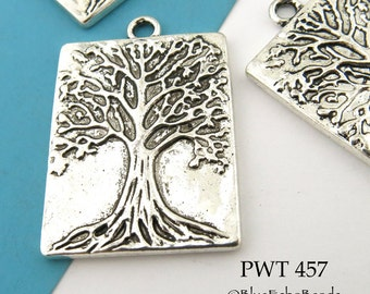 Large Tree of Life Rectangle Charm Tree of Life Pendant Antique Silver 32mm (PWT 457) blueecho 3 pcs