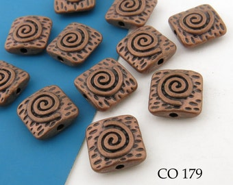 10mm Square Antique Copper Spiral Beads (CO 179) 10 pcs BlueEchoBeads