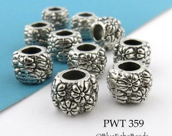 11mm Large Hole Ring Beads Floral Pattern Pewter, Antique Silver (PWT 359) 8 pcs BlueEchoBeads