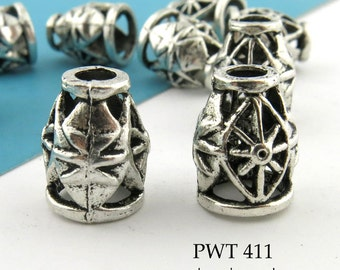 13mm Large Pewter Cone Bead Caps, Antique Silver (PWT 411) 6pcs BlueEchoBeads
