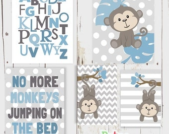 Blue Monkey Alphabet Number Word Nursery Art Print Set Baby Boy Room Decor