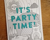 Party Time Letterpress Card