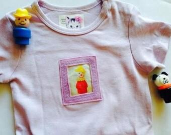 Cute Baby S/S Onesie, Applique Fisher Price Clown, Soft  Lavender Cotton, SIZE 9-12 Months