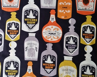 Cotton fabric Witches Brew Halloween Bottled Potions Graveyard Dust Witch Craft Quilt 1 Yard Fun Fabric for Creative Genius Projects
