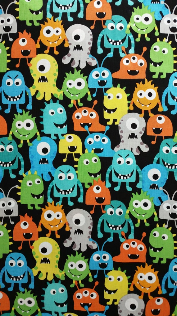 Cotton fabric monster pack black by the yard bright for Bright childrens fabric