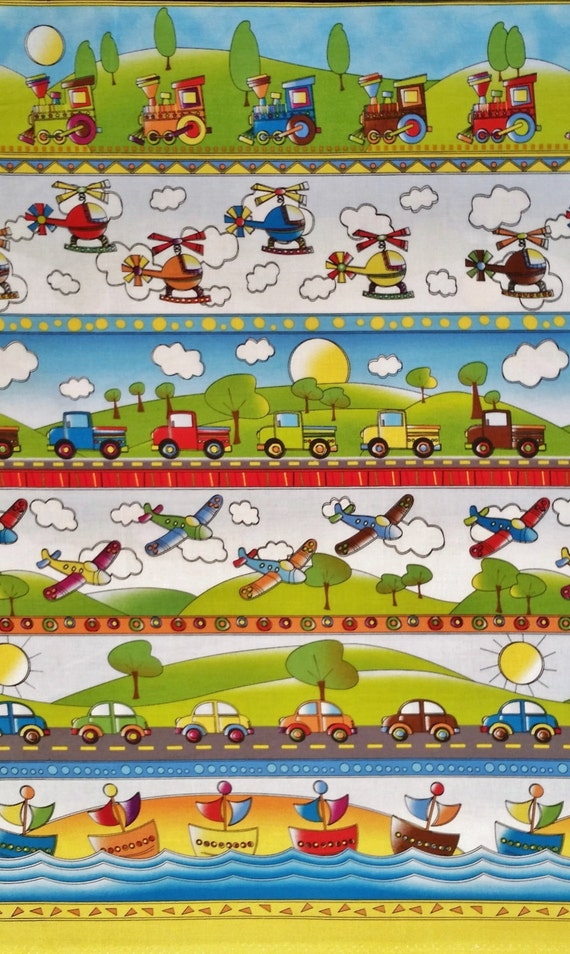 On the go cotton fabric by the yard stripe train by for Airplane fabric by the yard