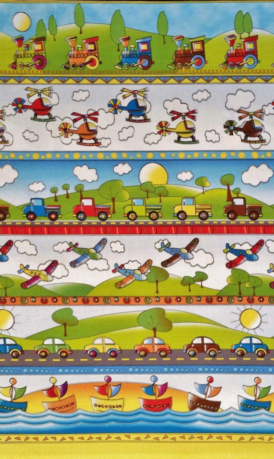 On the go cotton fabric by the yard stripe train by for Train fabric by the yard
