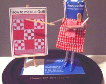 Baker Quilter Chef Business Card Sculpture - Any Theme, Hobby, Sport or Profession NO.8935