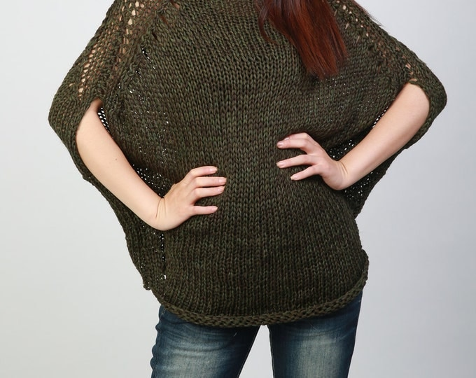 Hand knitted woman oversize drop shoulder sweater Eco Cotton Olive sweater