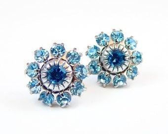 light blue crystal flower post earrings - vintage Swarovski flower - crystal earrings - aquamarine earrings