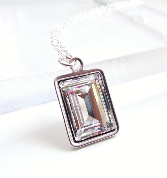Clear crystal emerald cut necklace - bridal jewelry - bridesmaid jewelry - weddings