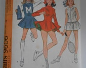 Vintage 60s Skating Tennis and Cheerleading Costumes Pattern McCalls 9606 Girls Size 12 Bust 30