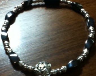 Black and Silver Magnetic Hematite Anklet with Silver Heart