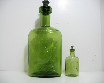 Vintage Royall Lyme Cologne Counter Display Bottle & 1 Regular Small Bottle Advertising Store Display