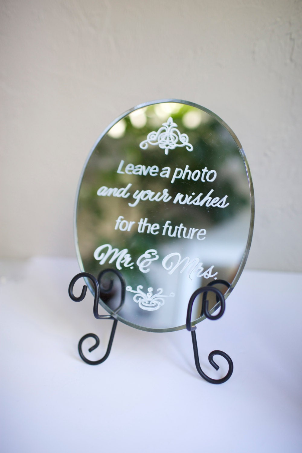 "Beveled edge oval 8"" x 10"" mirror for custom painted wedding signage. Menu, dessert bar, cocktails, instagram, gifts/cards, welcome"