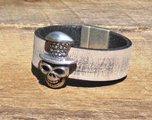 Top Hat Skull Leather Bracelet rustic rocker edgy antique silver black distressed Gasparilla pirate rugged unisex