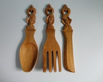 VINTAGE wood spoon fork knife WALL HANGINGS