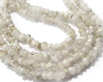 Rainbow Moonstone. Semi Precious Gemstone. Faceted AB Moonstone Rondelle   3mm  Your Choice Mini Strand  (55mn)  SALE - 20 % Off