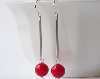 Red Silver Stick Dangle Earrings Eco-Friendly Upcycled Jewelry