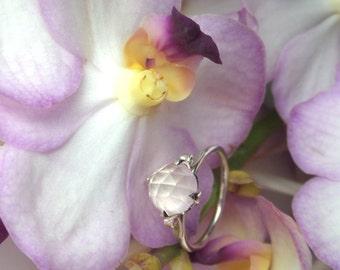 Rose Quartz Ring, Sterling Lotus Ring, Rose-Cut Quartz, Handforged (no casting), Made to Order