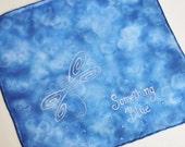 Hand Painted Silk Handkerchief - Something Blue Bridal Hankie Bride Shower Wedding Navy Dark Blue Dragonfly