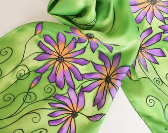 Hand Painted Silk Scarf - Handpainted Scarves Garden Green Grass Lime Purple Lavender Lilac Orange Peach Flowers Floral Bright